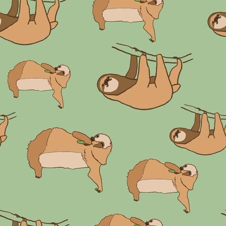 arboreal: Seamless pattern with cute sloths. illustration of relaxed and happy animals.  pattern on green background. Eating and hanging sloths