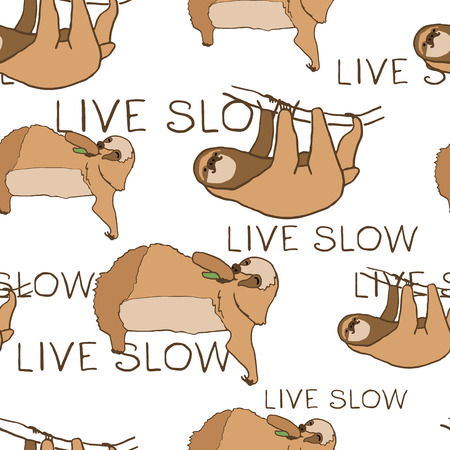 relaxed: Seamless pattern with cute sloths and lettering. illustration of relaxed and happy animals.  pattren on green background. Eating and hanging sloths