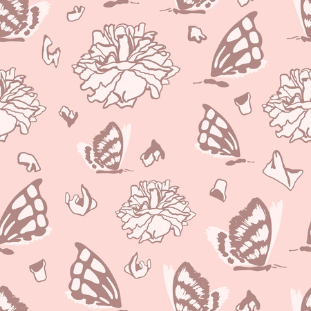 withering: Seamless pattern with dead butterflies and dried roses