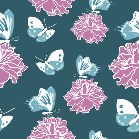 buttefly: Seamless pattern with blue butterflies and lilac roses