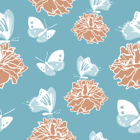 buttefly: Seamless pattern with blue butterflies and roses