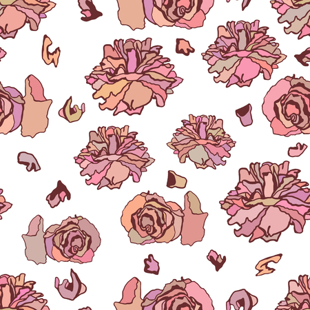 dried: Seamless pattern with dried roses. Hand drawn vector illustration isolated on white