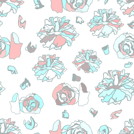 dried: Seamless pattern with dried roses. Hand drawn vector illustration. Pastel colors