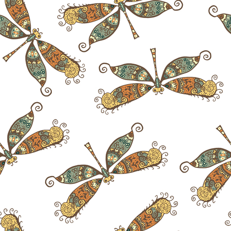 dragonflies: Seamless pattern with dragonflies isolated on white. Hand drawn vector dragonflies with ethnic pattern. Colorful stylized dragonly
