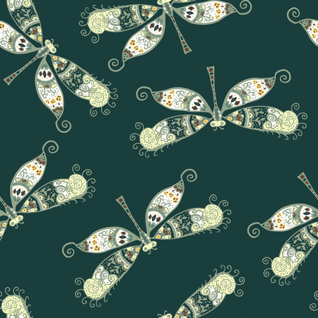 dragonfly: Seamless pattern with dragonflies isolated on dark green background. Hand drawn vector dragonflies with ethnic pattern. Colorful stylized dragonly Illustration