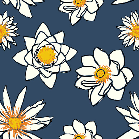 enlightenment: Seamless pattern with water flowers, lotus and water lily. Oriental symbols of enlightenment and purity and purity. Hand drawn vector illustration Illustration