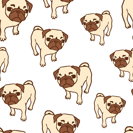 looking up: Seamless pattern with hand drawn pug puppies. Hand drawn vector illustration of little cute dog isolated on white. Looking up pug puppy