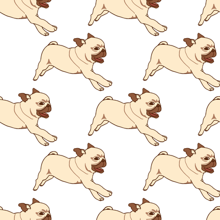 pug puppy: Seamless pattern with hand drawn pug puppies. Vector illustration of little cute dog isolated on white. Running playful pug puppy