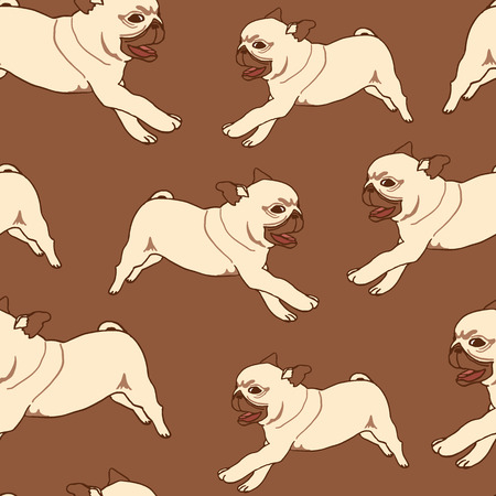 pug puppy: Seamless pattern with hand drawn pug puppies. Vector illustration of little cute dog on brown background. Running playful pug puppy Illustration