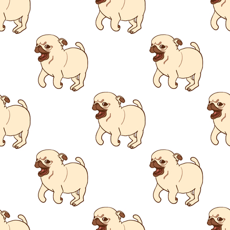 playful: Seamless pattern with hand drawn pug puppies. Vector illustration of little cute dog isolated on white. Running playful pug puppy