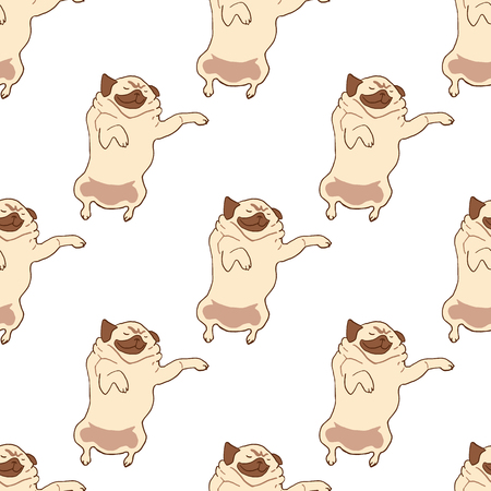 relaxed: Seamless pattern with hand drawn pug dogs. Vector illustration of sleeping dog isolated on white. Relaxed napping pug