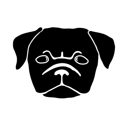 pug puppy: Pug puppy. Hand drawn vector illustration of dog head isolated on white. Cute little frowing pug. Black and white illustration Illustration