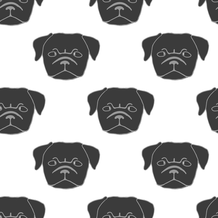 pug puppy: Seamless pattern with pug puppy. Hand drawn vector illustration of dog head isolated on white. Cute little frowing pug. Black and white illustration