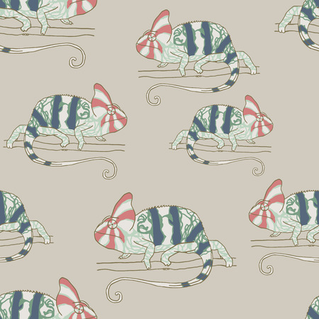 mimicry: Seamless pattern with chameleon. Vector illustration of reptile