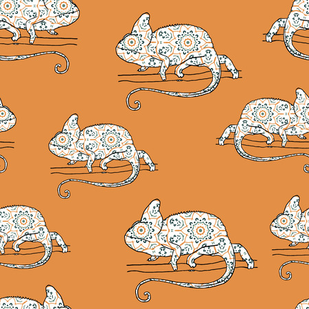 mimicry: Seamless pattern with chameleon. Vector illustration of reptile with hand drawn pattern