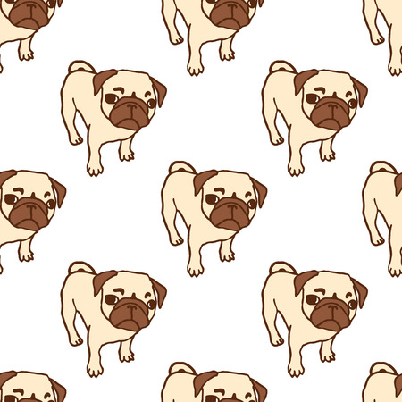 pug puppy: Seamless pattern with hand drawn pug puppies. Hand drawn vector illustration of little cute dog isolated on white. Looking up pug puppy