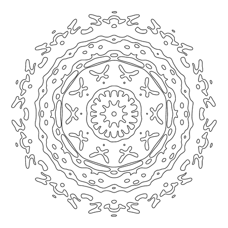 meditative: Zentangle style mandala. Hand drawn vector illustration. Ethnic design elements isolated on white. Black and white illustration for adult coloring. Meditative coloring for relaxation