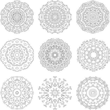 meditative: Set of zentangle style mandalas. Hand drawn vector illustration. Ethnic design elements isolated on white. Black and white illustration for adult coloring. Meditative coloring for relaxation