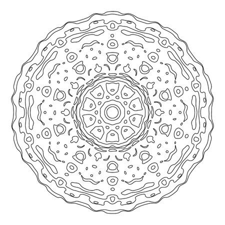 meditative: Zentangle style mandala. Hand drawn vector illustration. Ethnic design elements isolated on white. Black and white illustration for adult coloring. Meditative coloring for relaxation
