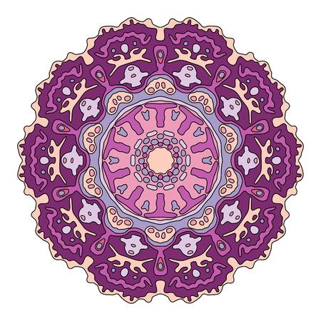 transcendent: Hand drawn purple mandala. Colorful vector illustration isolated on white. Ethnic design element. Illustration