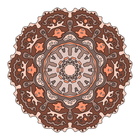 transcendent: Hand drawn brown mandala. Monochrome vector illustration isolated on white. Ethnic design element.