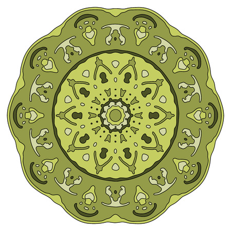 transcendent: Hand drawn green mandala. Colorful vector illustration isolated on white. Ethnic design element.