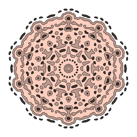transcendent: Hand drawn beige mandala. Monochrome vector illustration isolated on white. Ethnic design element.