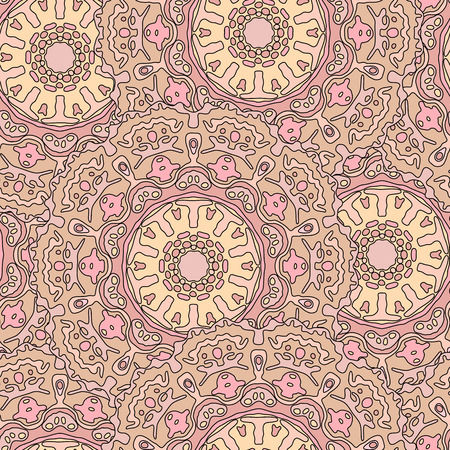 transcendent: Seamless pattern with hand drawn mandala. Beige vector illustration with ethnic design