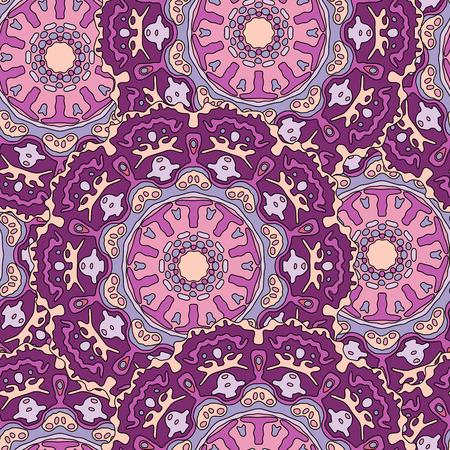 transcendent: Seamless pattern with hand drawn mandala. Colorful vector illustration with purple ethnic design Illustration