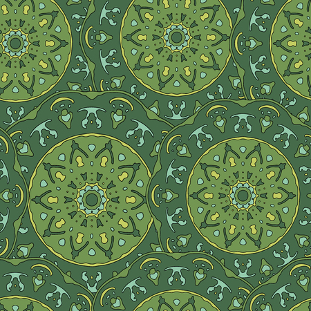 transcendent: Seamless pattern with hand drawn mandala. Green vector illustration with ethnic design