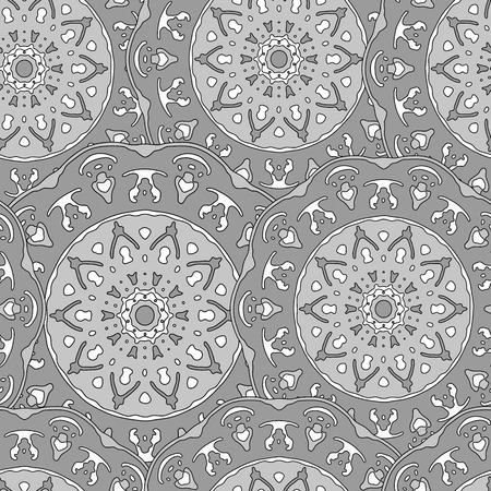 transcendent: Seamless pattern with hand drawn mandala. Monochrome vector illustration with ethnic design