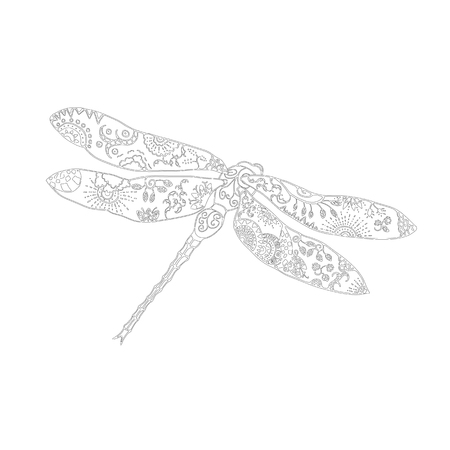 meditaion: Zentangle style vector illustration of dragonfly isolated on white. Hand drawn black and white illustration with floral pattern. Adult coloring page for meditative relaxation