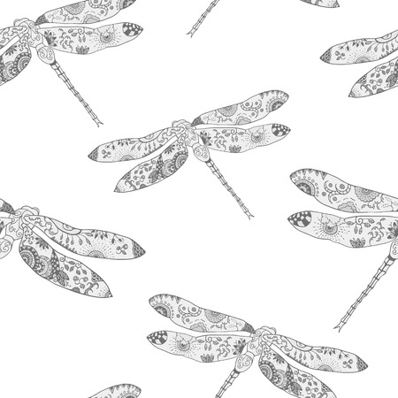 ecoration: Seamless pattern with stylized dragonflies. Hand drawn monochrome vector illustration with floral pattern