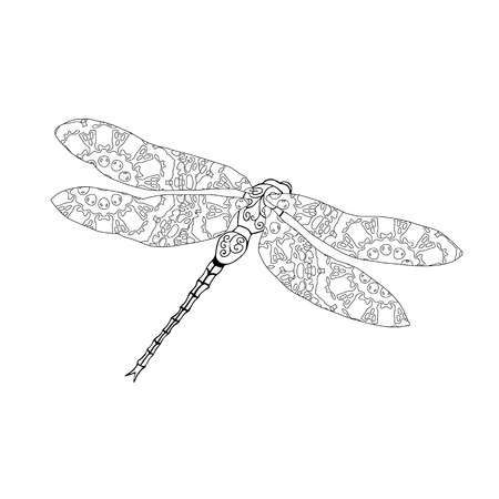 meditaion: Zentangle style vector illustration of dragonfly isolated on white. Hand drawn black and white illustration with abstract pattern