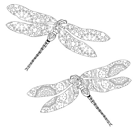 meditaion: Set of two zentangle style dragonflies isolated on white. Hand drawn black and white vector illustration with abstract pattern. Adult coloring page for meditative relaxation Illustration