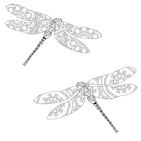 meditative: Set of two zentangle style dragonflies isolated on white. Hand drawn black and white vector illustration with abstract pattern. Adult coloring page for meditative relaxation Illustration