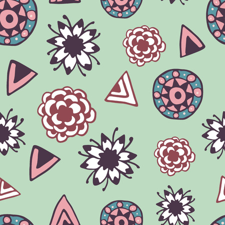 wanderlust: Vintage seamless pattern with hand drawn doodle elements. Colorful illustration on green background. Vector background with stylized flowers, and ethnic design elements