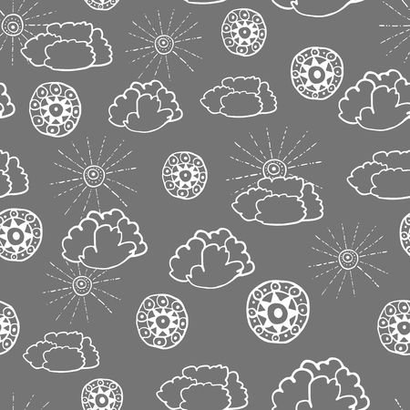 wanderlust: Seamless pattern with hand drawn doodle elements. Monochrome illustration on dark grey background. Vector background with stylized sun, clouds and round ethnic design elements