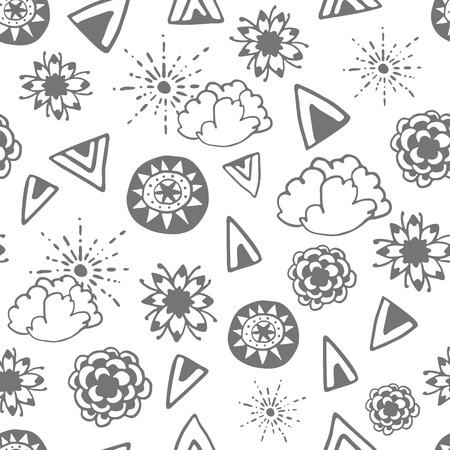 wanderlust: Seamless pattern with hand drawn doodle elements. Monochrome illustration isolated on white. Vector background with stylized flowers, sun, clouds and ethnic design elements