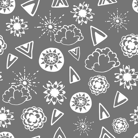 wanderlust: Seamless pattern with hand drawn doodle elements. Monochrome illustration on dark grey background. Vector background with stylized flowers, sun, clouds and ethnic design elements