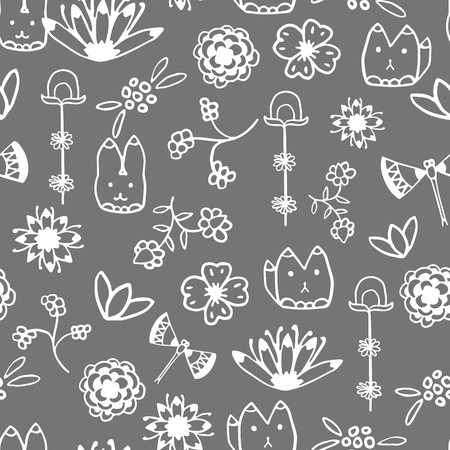 wanderlust: Seamless pattern with hand drawn doodle elements.