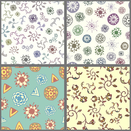 wanderlust: Set of four seamless patterns with hand drawn doodle elements. Colorful vector background with stylized flowers, sun, plants and clouds. Ethnic design illustration Illustration