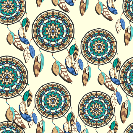cherokee: Seamless pattern with hand drawn dreamcatchers. Colorful vector illustrations on light yellow background. Boho style design elements. Tribal style design