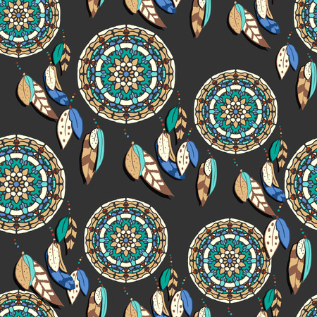 dreamcatcher: Seamless pattern with hand drawn dreamcatchers. Colorful vector illustrations on dark background. Boho style design elements. Tribal style design Illustration