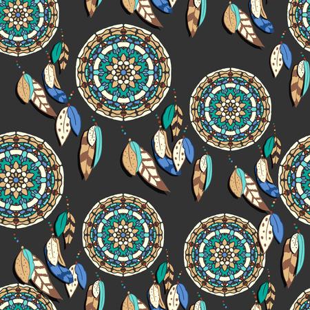 atrapasueños: sin patrón, con dreamcatchers dibujados a mano. ilustraciones de vectores de colores sobre fondo oscuro. elementos de diseño de estilo boho. diseño tribal del estilo Vectores