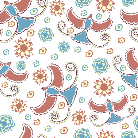 birds of paradise: Seamless pattern with stylized birds of paradise and flowers. Hand drawn vector illustration of flying birds