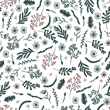 floral elements: Seamless floral pattern on white background. Dark green flowers and red berries. Background with hand drawn doodle elements Illustration