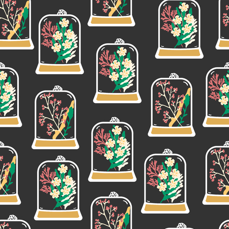 moss: Seamless pattern with hand drawn floral terrariums. Plant pendant with dried flowers, moss and berries. Colorful vector illustration Illustration
