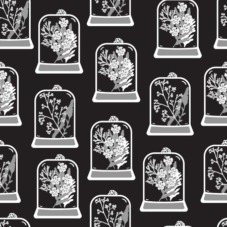 moss: Seamless pattern with hand drawn floral terrariums. Plant pendant with dried flowers, moss and berries. Monochrome vector illustration