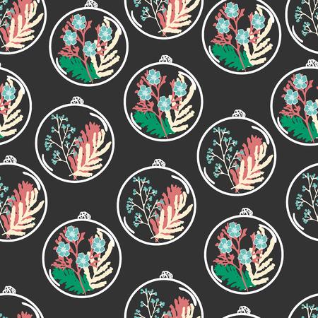 Nahtlose Muster mit Hand gezeichneten Blumen Terrarien. Pflanzen Anhänger mit getrockneten Blumen, Moos und Beeren. Bunte Vektor-Illustration